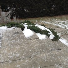 light covering of snow on stone steps with shrubs in background